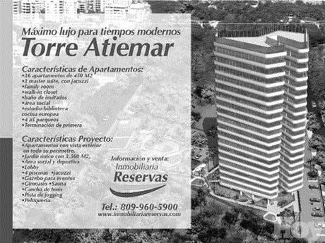 Inmobiliaria Reservas informa que vende apartamentos de lujo