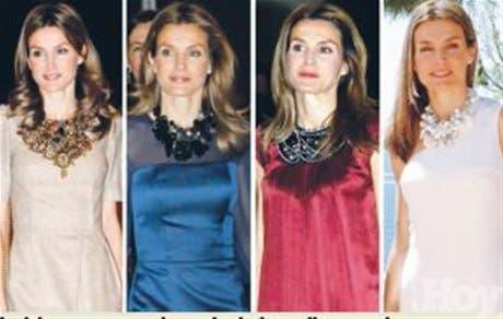 <STRONG>En rosa<BR></STRONG>Letizia se apunta a la moda de los collares anchos
