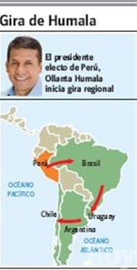 Presidente electo de Perú inicia gira porcono Sur