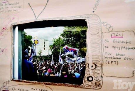 "MENUDO MUNDO<BR>Protesta ""transmitida por televisión"""
