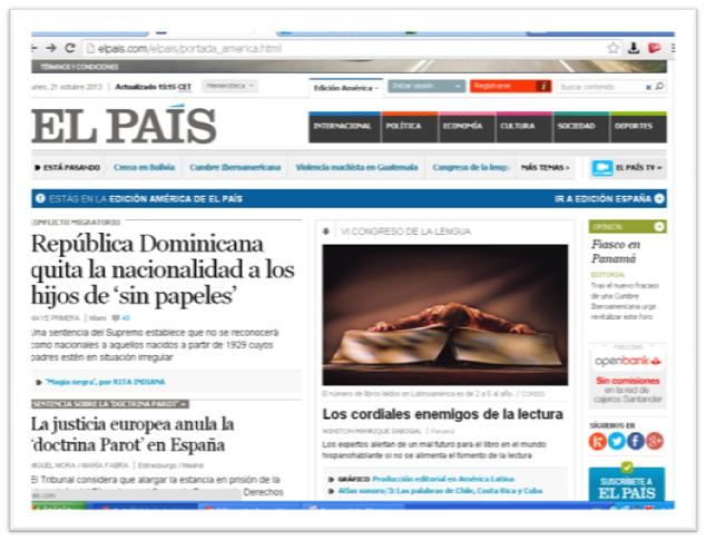 Portada del Periódico El País sobre fallo TC de RD.