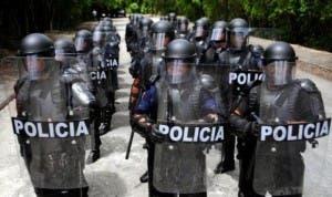 La policía amotinada