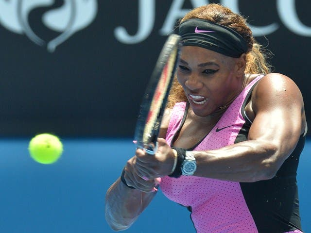 Serena Williams of the US plays a shot during her women's singles match against Serbia's Vesna Dolonc on day three of the 2014 Australian Open tennis tournament in Melbourne on January 15, 2014.      IMAGE RESTRICTED TO EDITORIAL USE - STRICTLY NO COMMERCIAL USE          AFP PHOTO / PAUL CROCK