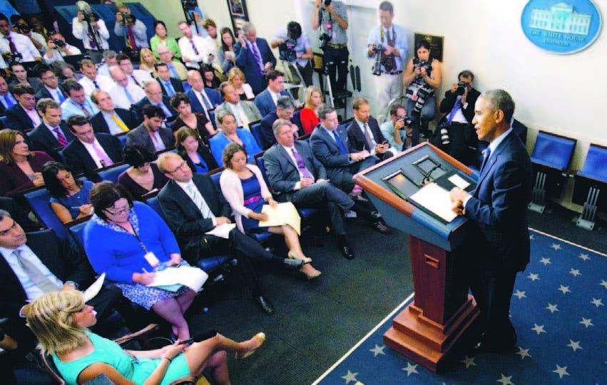 El presidente Barack Obama habló sobre la situación en Irak en la sala de prensa de la Casa Blanca