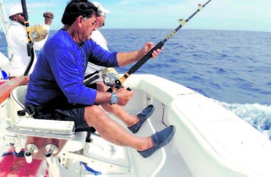 Jesús Medina, durante su actividad en el torneo pesca en Higüey