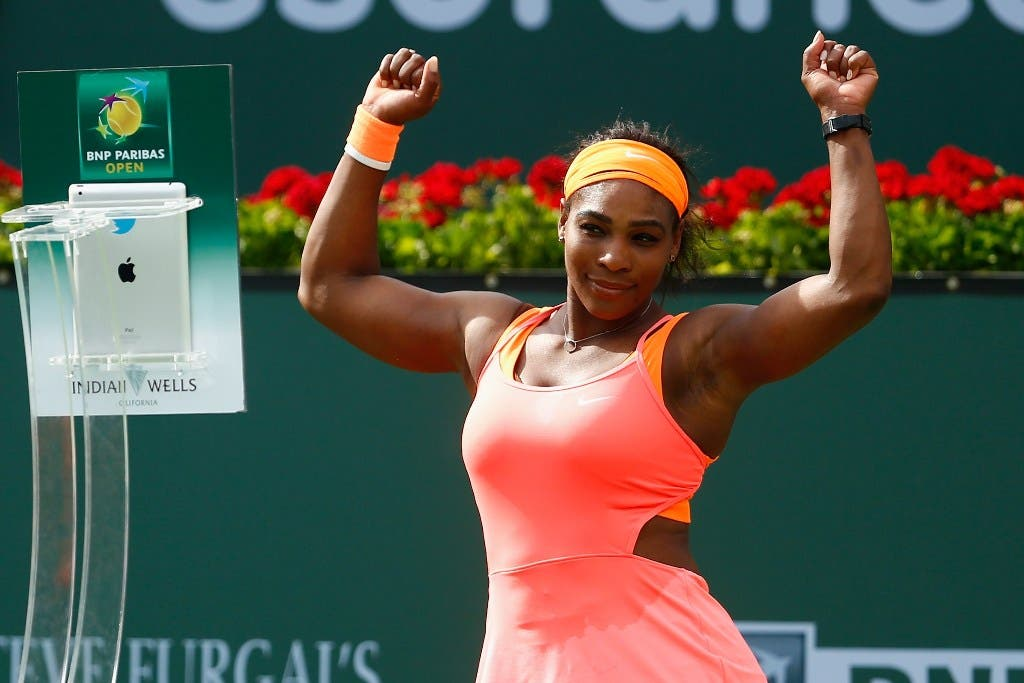 INDIAN WELLS, CA - MARCH 17: Serena Williams of USA poses for social media after her match against Sloane Stephens of USA during day nine of the BNP Paribas Open tennis at the Indian Wells Tennis Garden on March 17, 2015 in Indian Wells, California.   Julian Finney/Getty Images/AFP== FOR NEWSPAPERS, INTERNET, TELCOS & TELEVISION USE ONLY ==