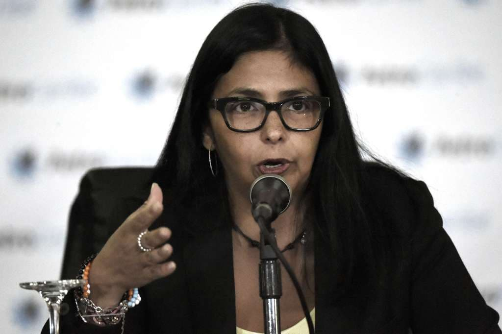 Venezuela's Foreign Minister, Delcy Rodriguez speaks during press conference in Caracas on March 9, 2015. US President Barack Obama on Monday ordered a fresh wave of sanctions against senior Venezuelan officials involved on opposition crackdown, including the prosecution of Caracas's mayor.  AFP  PHOTO/JUAN BARRETO