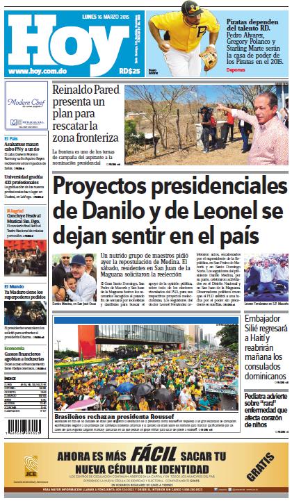 Edición impresa HOY (lunes 16 de marzo, 2015)
