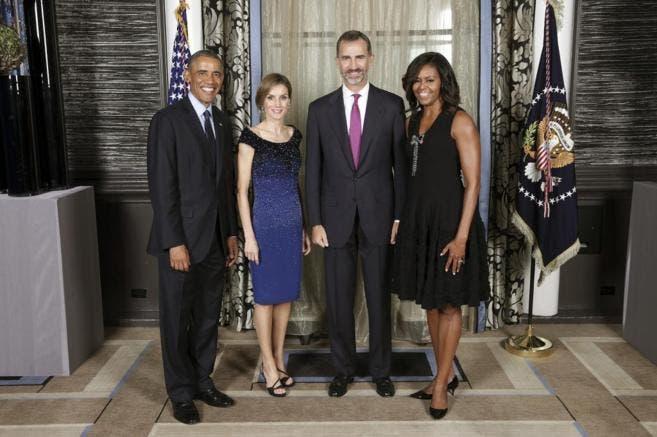 Los Reyes junto a Barack Obama y su mujer en septiembre de 2014, en Nueva York. EFE