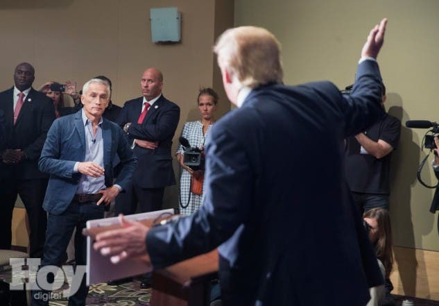 DUBUQUE, IA - AUGUST 25: Republican presidential candidate Donald Trump fields a question from Univision and Fusion anchor Jorge Ramos during a press conference held before his campaign event at the Grand River Center on August 25, 2015 in Dubuque, Iowa. Earlier in the press conference Trump had Ramos removed from the room when he failed to yield when Trump wanted to take a question from a different reporter. Trump leads most polls in the race for the Republican presidential nomination.   Scott Olson/Getty Images/AFP == FOR NEWSPAPERS, INTERNET, TELCOS & TELEVISION USE ONLY ==