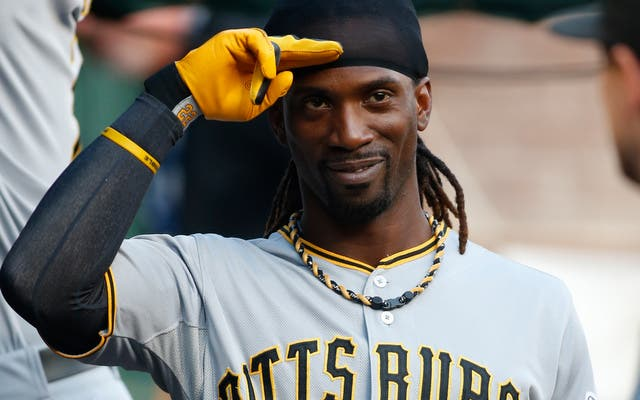 Sep 9, 2013; Arlington, TX, USA; Pittsburgh Pirates center fielder Andrew McCutchen (22) in the dugout before the game against the Texas Rangers at Rangers Ballpark in Arlington. Mandatory Credit: Tim Heitman-USA TODAY Sports