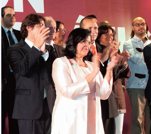 Minou Tavárez Mirabal durante la presentación Opción Democrática.