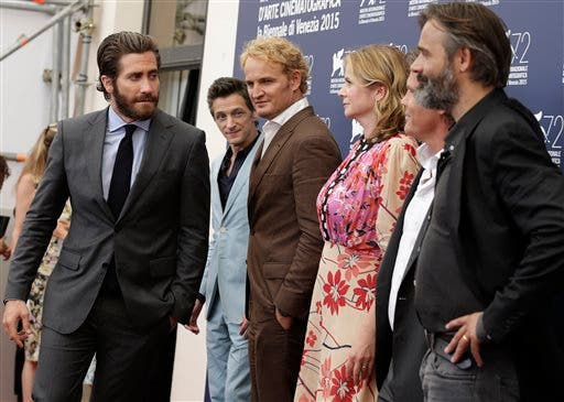 From left, actors Jake Gyllenhaal, John Hawkes, Jason Clarke, Emily Watson, Josh Brolin, and director Baltasar Kormakur pose during the photo call for the movie Everest, opening the 72nd edition of the Venice Film Festival in Venice, Italy, Wednesday, Sept. 2, 2015. The 72nd edition of the festival runs until Sept. 12. (AP Photo/Andrew Medichini)