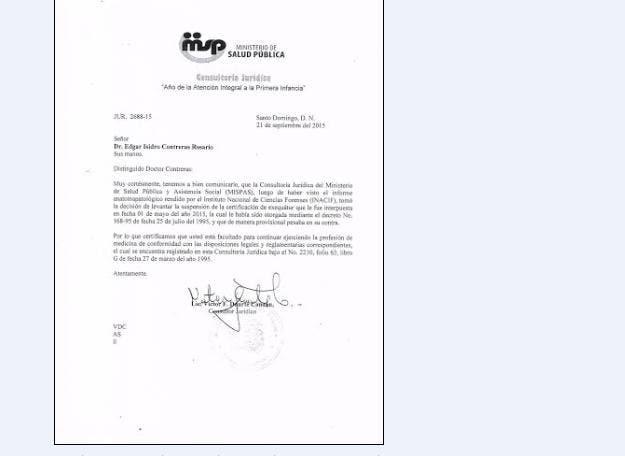 Documento emitido por el Ministerio de Salud Pública que levantó la suspensión que pesaba contra el doctor Edgar Contreras para el ejercicio de la cirugía plástica en la República Dominicana,  fuente externa