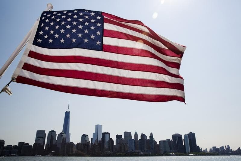 Bandeira dos EUA em Manhattan, Nova York