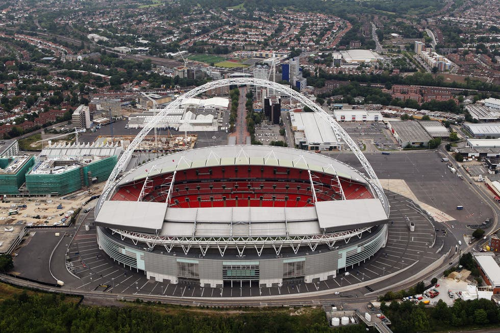 LONDON, ENGLAND - JULY 26:  Aerial view of Wembley Stadium which will host football events during the London 2012 Olympic Games on July 26, 2011 in London, England.  (Photo by Tom Shaw/Getty Images)