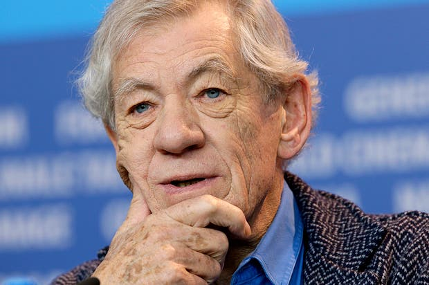 Actor Sir Ian McKellen attends the press conference for the film Mr. Holmes at the 2015 Berlinale Film Festival in Berlin, Germany, Sunday, Feb. 8, 2015. (AP Photo/Michael Sohn)
