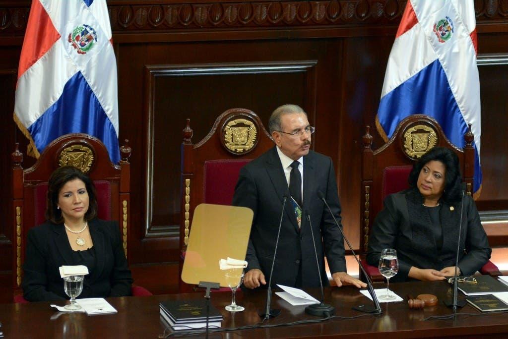 Danilo Medina en su discurso de rendición de cuentas. Fotos: Adolfo Woodley Valdez.