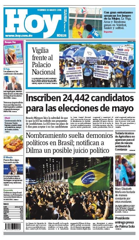 Edición impresa HOY (viernes 18 de marzo, 2016)