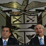 Panama's Minister of the Presidency Alvaro Aleman (R) and Vice-Foreign Minister Luis Miguel Hincapie offer a press conference about the Mossack Fonseca firm and the Panama Papers revelations, in Panama City, on April 5, 2016. A massive leak -coming from Mossack Fonseca- of 11.5 million tax documents on Sunday exposed the secret offshore dealings of aides to Russian president Vladimir Putin, world leaders and celebrities including Barcelona forward Lionel Messi. An investigation into the documents by more than 100 media groups, described as one of the largest such probes in history, revealed the hidden offshore dealings in the assets of around 140 political figures -- including 12 current or former heads of states. / AFP / RODRIGO ARANGUA
