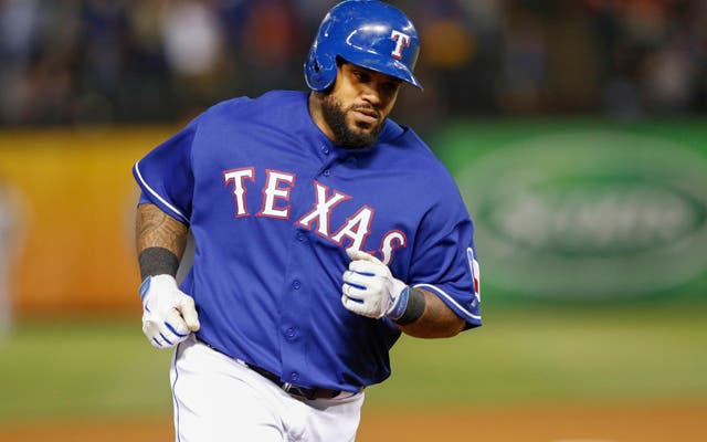 May 8, 2014; Arlington, TX, USA;  Texas Rangers first baseman Prince Fielder (84) rounds the bases after hitting a home run during the sixth inning against the Colorado Rockies at Globe Life Park in Arlington. Mandatory Credit: Kevin Jairaj-USA TODAY Sports