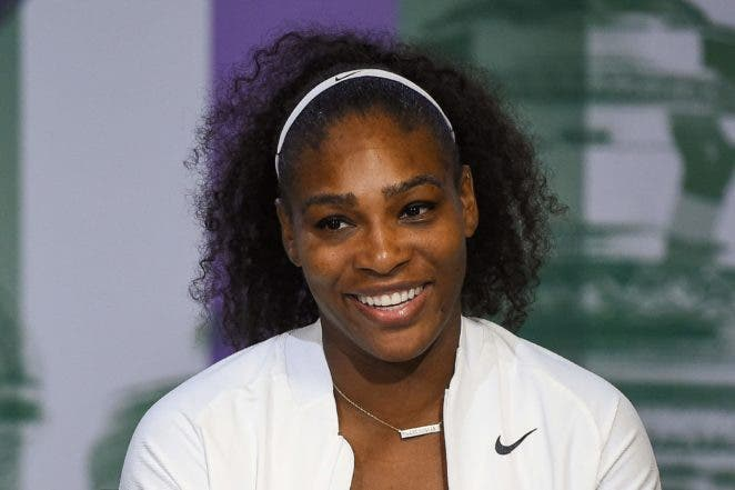 US player Serena Williams gives a press conference after winning the women's singles final during the  2016 Wimbledon Championships tennis tournament at The All England Lawn Tennis Club in Wimbledon, southwest London, on July 9, 2016.  RESTRICTED TO EDITORIAL USE  / AFP / POOL / AELTC / Jon BUCKLE / RESTRICTED TO EDITORIAL USE