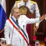 Dominican Republic President Danilo Medina gives a speech after receiving the presidential sash at the national congress in Santo Domingo on August 16, 2016.  / AFP / afp / Erika SANTELICES
