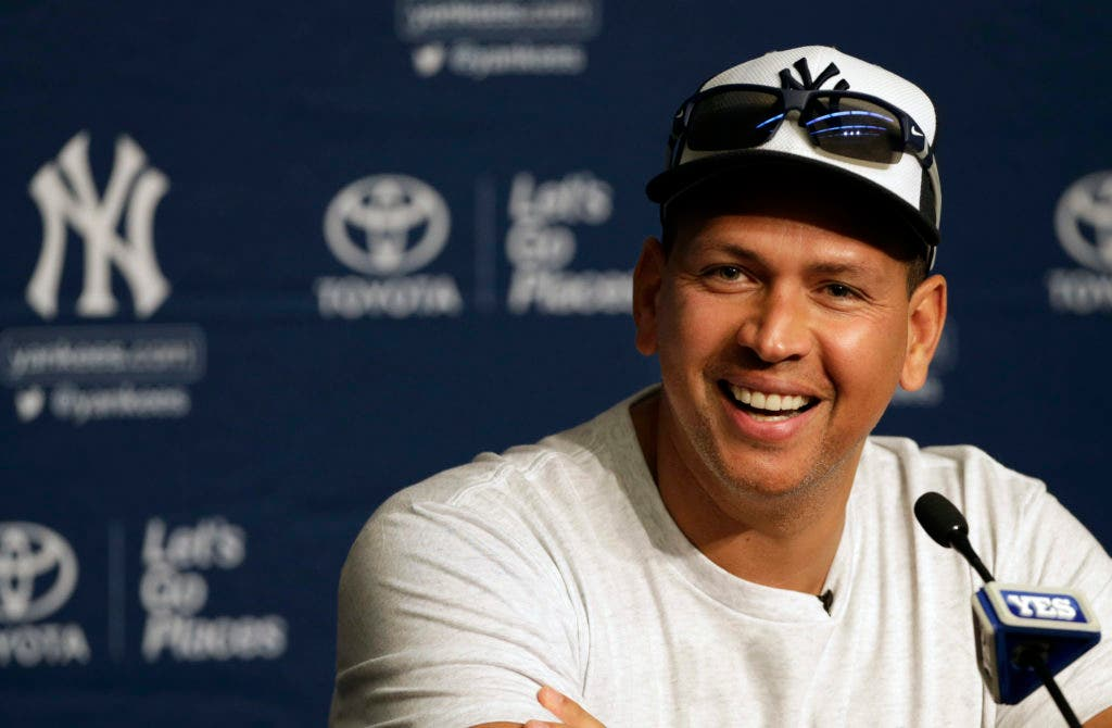 New York Yankees' Alex Rodriguez reacts during a news conference prior to his last MLB baseball game against the Tampa Bay Rays on Friday, Aug. 12, 2016, in New York. (AP Photo/Adam Hunger)