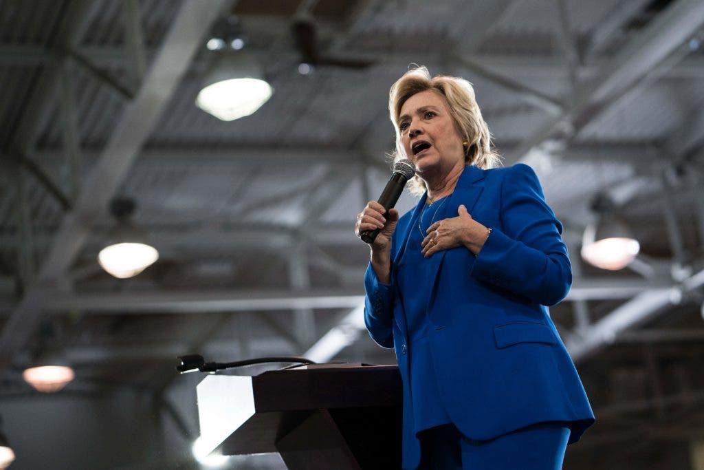 US Democratic presidential nominee Hillary Clinton speaks during a voter registration rally at Johnson C. Smith University September 8, 2016 in Charlotte, North Carolina. / AFP / Brendan Smialowski