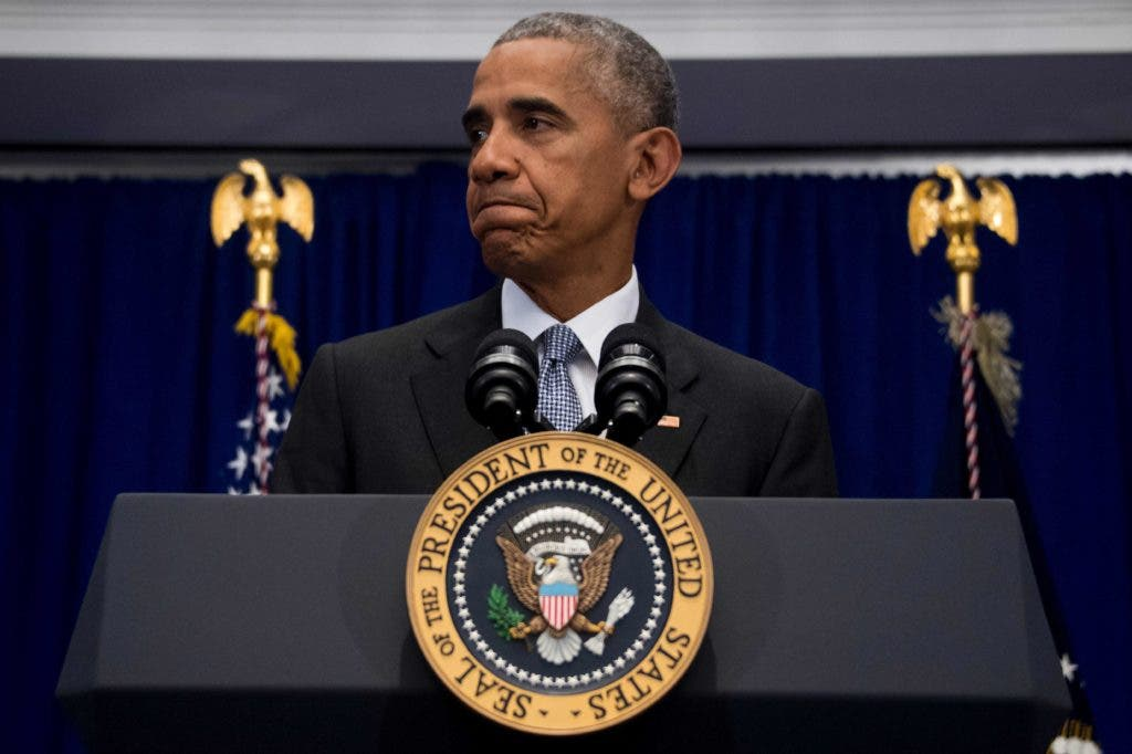 US President Barack Obama delivers a statement September 19, 2016 in New York, New York, on the bombings in New York and New Jersey. Obama warned Americans not to succumb to fear. / AFP / JIM WATSON