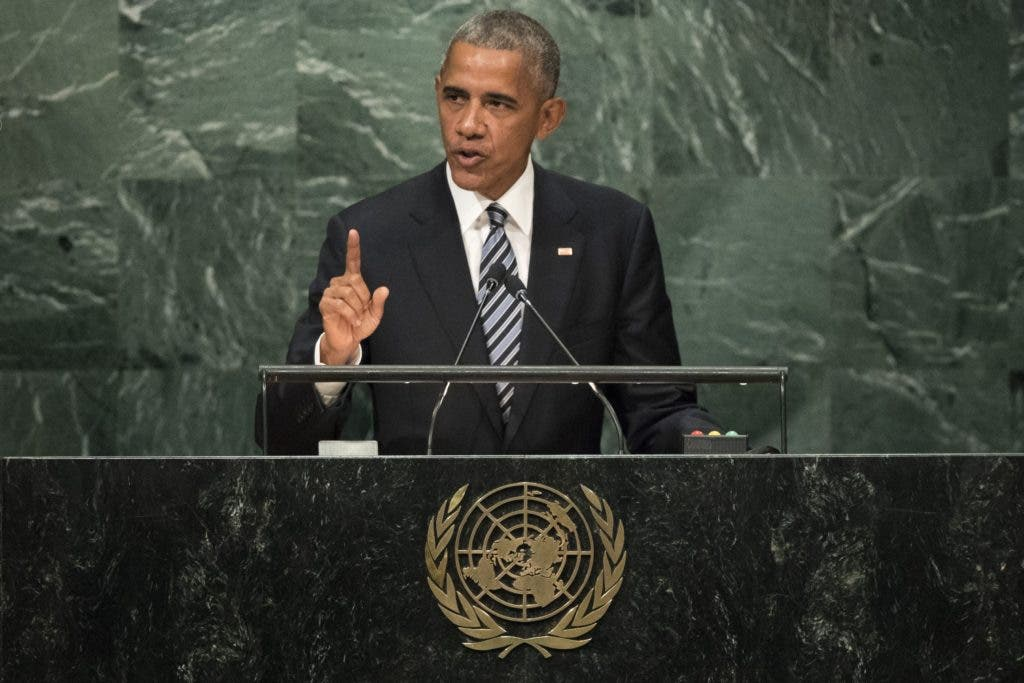 NEW YORK, NEW YORK - SEPTEMBER 20: U.S. President Barack Obama addresses the United Nations General Assembly at UN headquarters, September 20, 2016 in New York City. According to the UN Secretary-General Ban ki-Moon, the most pressing matter to be discussed at the General Assembly is the world's refugee crisis.   Drew Angerer/Getty Images/AFP == FOR NEWSPAPERS, INTERNET, TELCOS & TELEVISION USE ONLY ==