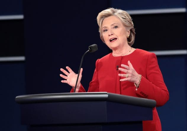 HEMPSTEAD, NY - SEPTEMBER 26: Democratic presidential nominee Hillary Clinton speaks during the Presidential Debate at Hofstra University on September 26, 2016 in Hempstead, New York. The first of four debates for the 2016 Election, three Presidential and one Vice Presidential, is moderated by NBC's Lester Holt.   Drew Angerer/Getty Images/AFP == FOR NEWSPAPERS, INTERNET, TELCOS & TELEVISION USE ONLY ==