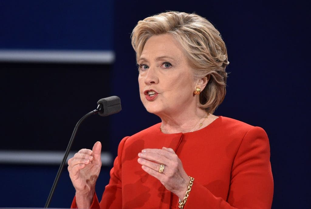 Democratic nominee Hillary Clinton speaks during the first presidential debate at Hofstra University in Hempstead, New York on September 26, 2016. / AFP / Paul J. Richards