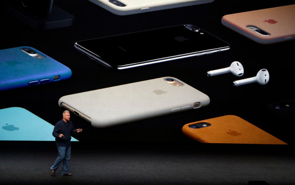 Phil Schiller, Apple's senior vice president of worldwide marketing, talks about the pricing on the new iPhone 7 during an event to announce new products Wednesday, Sept. 7, 2016, in San Francisco. (AP Photo/Marcio Jose Sanchez)