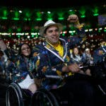 Members of the Brazil delegation enter the arena during the opening ceremony of the Rio 2016 Paralympic Games at the Maracana Stadium in Rio de Janeiro, Brazil, Wednesday, Sept. 7, 2016. (Mauro Pimentel)