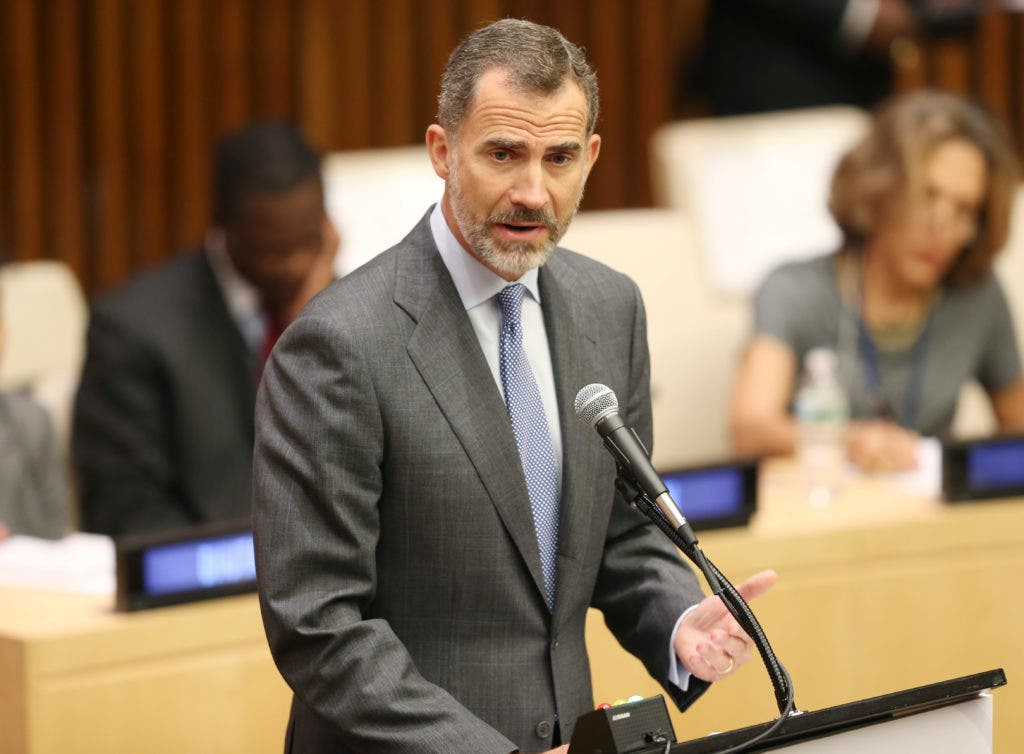Felipe VI, King of Spain, speaks during the Summit for Refugees and Migrants at U.N. headquarters, Monday, Sept. 19, 2016. (AP Photo/Seth Wenig)