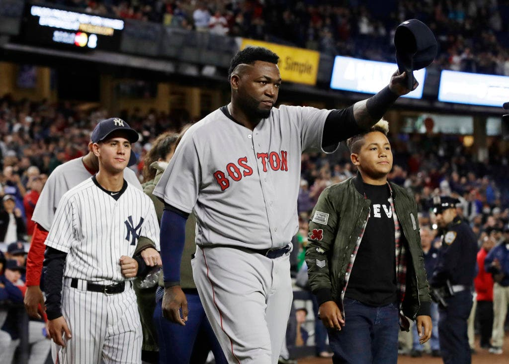 Boston Red Sox's David Ortiz walks toward home plate before he was honored before the team's baseball game against the New York Yankees on Thursday, Sept. 29, 2016, in New York. (AP Photo/Frank Franklin II)