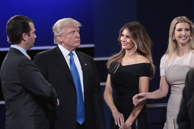 HEMPSTEAD, NY - SEPTEMBER 26: Republican presidential nominee Donald Trump (2L) looks on with wife, Melania Trump (2R) daughter, Ivanka Trump (R) and son, Donald Trump, Jr. (L) after the Presidential Debate with Democratic presidential nominee Hillary Clinton at Hofstra University on September 26, 2016 in Hempstead, New York. The first of four debates for the 2016 Election, three Presidential and one Vice Presidential, is moderated by NBC's Lester Holt.   Drew Angerer/Getty Images/AFP == FOR NEWSPAPERS, INTERNET, TELCOS & TELEVISION USE ONLY ==