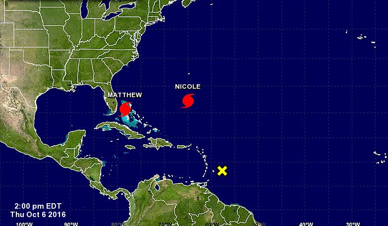 Tormenta Nicole es casi un huracán de categoría uno