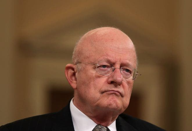 WASHINGTON, DC - NOVEMBER 17: Director of National Intelligence James Clapper testifies during a hearing before the House (Select) Intelligence Committee November 17, 2016 on Capitol Hill in Washington, DC. Clapper said he has submitted letter of resignation last night.   Alex Wong/Getty Images/AFP == FOR NEWSPAPERS, INTERNET, TELCOS & TELEVISION USE ONLY ==