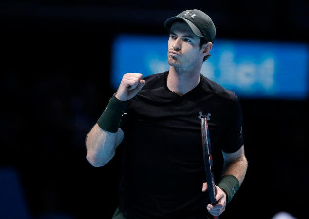 Andy Murray of Britain reacts during his ATP World Tour Finals singles tennis match against Stan Wawrinka of Switzerland at the O2 Arena in London, Friday, Nov. 18, 2016. (AP Photo/Kirsty Wigglesworth)