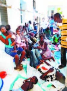 Enfermos de cólera en Haití