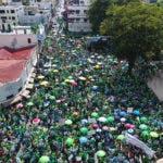 Vista aérea de la Marcha contra La Impunidad. Parque Independencia. Hoy/Arismendy Lora