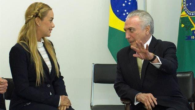 Presidente de Brasil recibe a esposa de Leopoldo López y pide su liberación