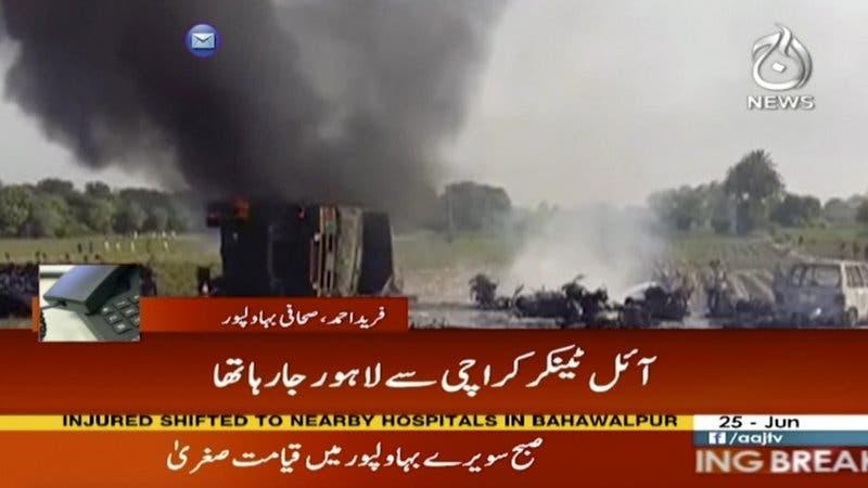 Se incendia camión cisterna en Pakistán; 148 muertos