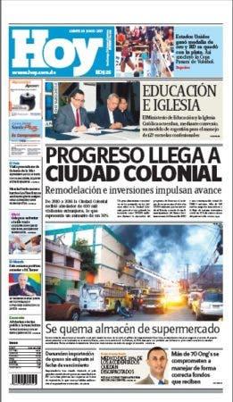 Portada edicion impresa Hoy lunes 26 junio ,2017