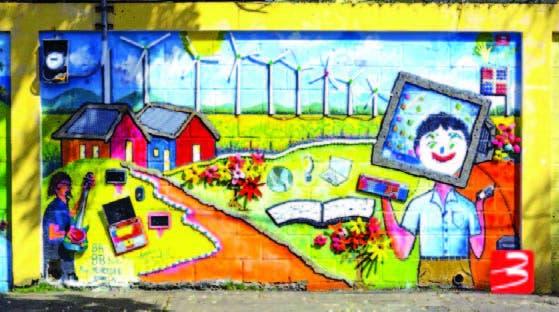El mural sobre medio ambiente en el colegio El Buen Pastor