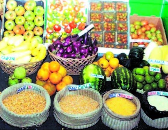 Parte de los productos agrícolas que consumen los turistas aquí.