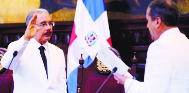 El presidente Danilo Medina al ser juramentado en su segundo mandato, en agosto del año 2016