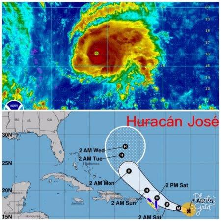 Huracán José moviéndose hacia el oeste/noroeste a 26kph,con vientos máximos sostenidos de 200kph..